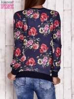 Granatowa bluza motywy roślinne                                                                          zdj.                                                                         4