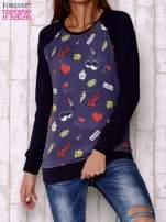 Granatowa bluza z komiksowymi nadrukami                                  zdj.                                  1