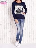 Granatowa bluza z nadrukiem psa                                  zdj.                                  2