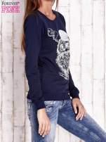 Granatowa bluza ze zwierzęcym nadrukiem                                                                          zdj.                                                                         3