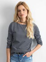 Granatowa bluzka damska w paski                                  zdj.                                  1