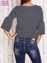 Granatowa bluzka w paski z suwakiem na plecach                                                                          zdj.                                                                         4