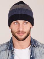 Granatowa czapka męska w paski                                  zdj.                                  1