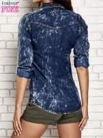 Granatowa dekatyzowana koszula jeansowa