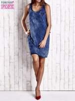 Granatowa denimowa sukienka z motywem panterki                                  zdj.                                  7