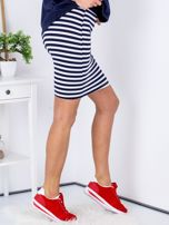 Granatowa dopasowana spódnica w paski                                  zdj.                                  3