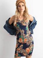 Granatowa dopasowana sukienka z motywem kwiatki                                  zdj.                                  1
