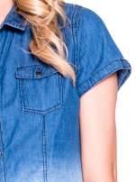 Granatowa jeansowa koszula z krótkim rękawem z efektem ombre
