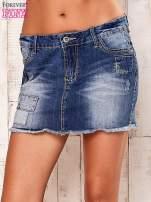 Granatowa jeansowa spódnica z wystrzępionym dołem                                  zdj.                                  1