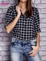 Granatowa koszula w kratę z kieszonką                                  zdj.                                  5