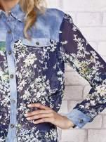 Granatowa koszula w kwiaty ze wstawkami z denimu                                  zdj.                                  5