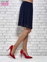 Granatowa plisowana spódnica do kolan                                  zdj.                                  4