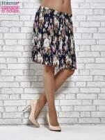 Granatowa plisowana spódnica w kwiaty                                                                          zdj.                                                                         3