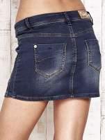 Granatowa spódnica jeansowa z przetarciami                                                                           zdj.                                                                         6