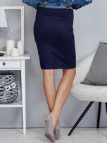 Granatowa spódnica z imitacji zamszu                                  zdj.                                  2
