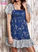 Granatowa sukienka baby doll w kwiatki                                  zdj.                                  1
