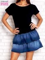 Granatowa sukienka dresowa z jeansowym dołem                                  zdj.                                  1