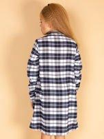 Granatowa sukienka w kratę dla dziewczynki                                  zdj.                                  5