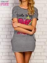 Granatowa sukienka w paski z napisem TIME IS UP