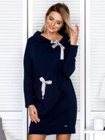 Granatowa sukienka z wstążkami                                   zdj.                                  1