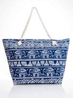 Granatowa torba plażowa w indyjskie wzory                                  zdj.                                  5