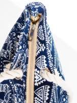 Granatowa torba plażowa w indyjskie wzory                                  zdj.                                  7