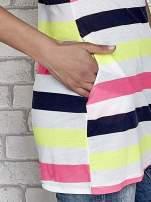 Granatowa tunika w kolorowe pasy
