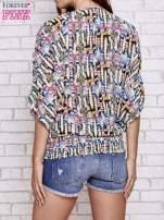 Granatowa wzorzysta koszula nietoperz z suwakiem                                  zdj.                                  5