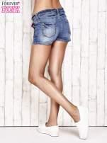 Granatowe jeansowe szorty z przetarciami                                                                          zdj.                                                                         4