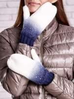 Granatowe rękawiczki z dżetami i efektem ombre                                  zdj.                                  2