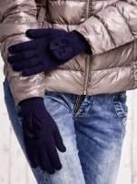 Granatowe rękawiczki z kokardką i długim ściągaczem                                  zdj.                                  3