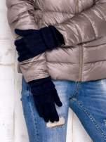 Granatowe rękawiczki z ozdobnym marszczeniem                                  zdj.                                  3