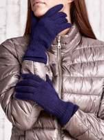 Granatowe rękawiczki ze ściągaczem i podwójnym mankietem                                  zdj.                                  1