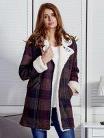 Granatowo-czerwony płaszcz na baranku w kratkę                                  zdj.                                  1