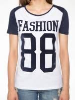 Granatowo-szary t-shirt z nadrukiem FASHION 88                                                                          zdj.                                                                         7