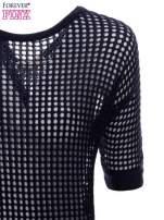 Granatowy ażurowy sweter oversize                                  zdj.                                  7