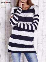 Granatowy długi sweter w szerokie paski Funk n Soul                                  zdj.                                  1