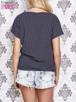 Granatowy t-shirt w drobne groszki z napisem LIU J❤
