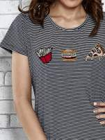 Granatowy t-shirt z motywem fast food                                  zdj.                                  5