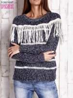 Granatowy wełniany sweter z frędzlami                                                                          zdj.                                                                         1