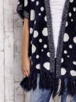 Granatowy włochaty sweter w grochy                                  zdj.                                  6