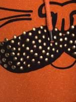 """""""HipsterCat' Pomarańczowa bluza z nadrukiem kota                                  zdj.                                  5"""