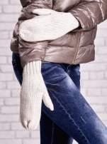 Jasnobeżowe rękawiczki na jeden palec z błyszczącą nicią                                                                          zdj.                                                                         1