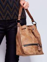 Jasnobrązowa torba z suwakami                                   zdj.                                  5