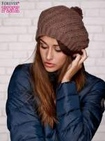 Jasnobrązowa wełniana czapka z pomponem