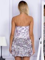 Jasnofioletowa sukienka w grochy z ozdobną spódnicą                                  zdj.                                  2