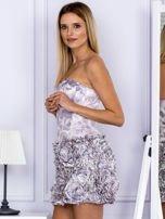 Jasnofioletowa sukienka w grochy z ozdobną spódnicą                                  zdj.                                  3