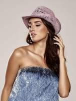 Jasnofioletowy damski kapelusz kowbojski z ciemną plecionką                                  zdj.                                  1