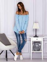 Jasnoniebieska bluzka z wiązaniami na rękawach                                  zdj.                                  4