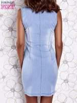 Jasnoniebieska denimowa sukienka z suwakiem                                  zdj.                                  2